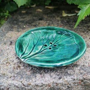 mydelniczka ceramiczna z dziurkami lisc duzy 2 Ręcznie robione mydelniczki ceramiczne z dziurkami. Wybierz wariant :) Więcej zdjęć poszczególnych wariantów w opisie produktu.