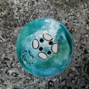 mydelniczka ceramiczna z dziurkami listek paproci 4 Ręcznie robione mydelniczki ceramiczne z dziurkami. Wybierz wariant :) Więcej zdjęć poszczególnych wariantów w opisie produktu.
