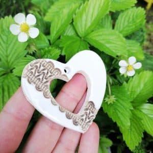 zawieszka ceramiczna w kształcie serca